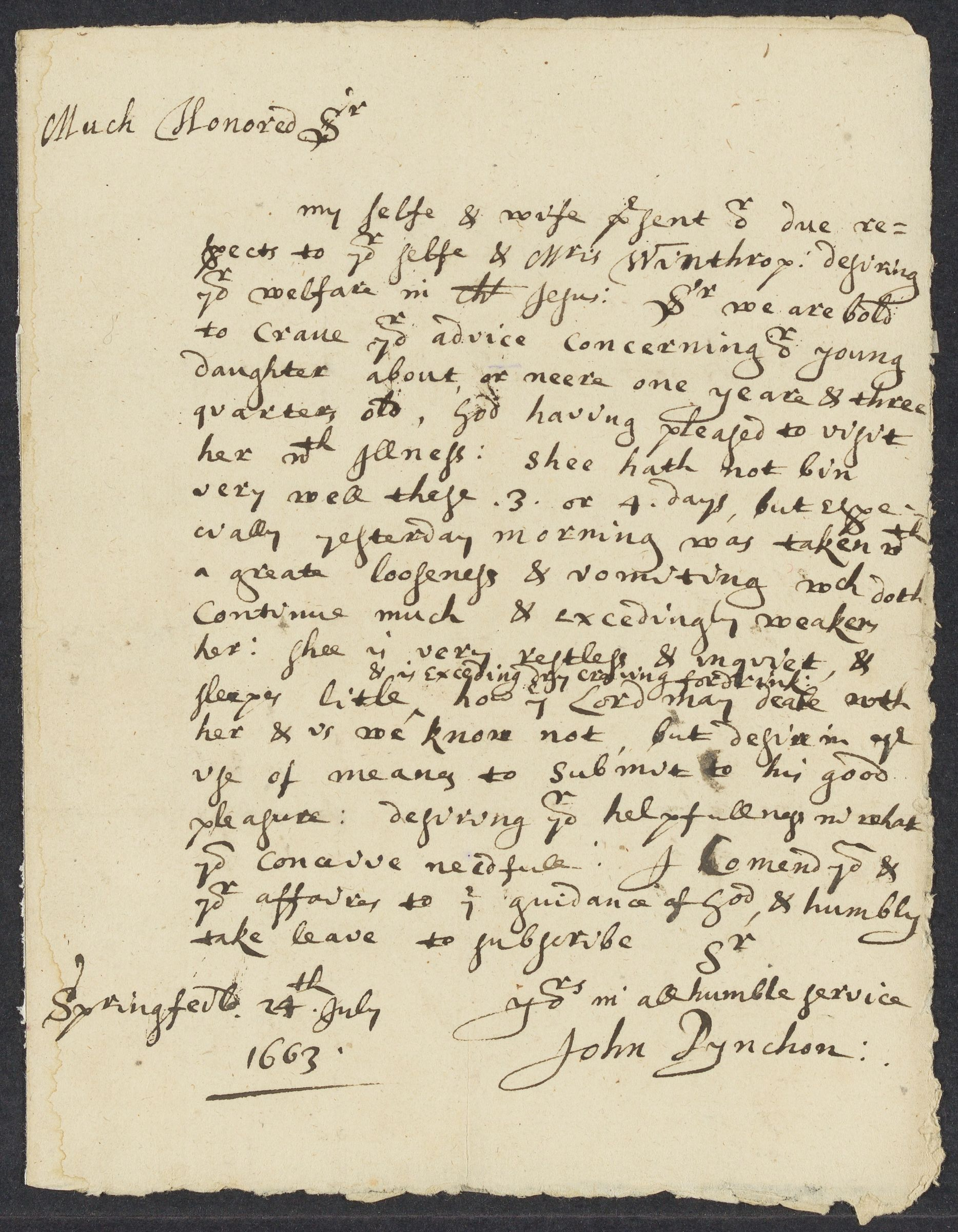Pynchon, John, 1621-1703, autographed letter signed to John Winthrop; Springfield, Mass., 1 side (2 pages), 1663 July 24