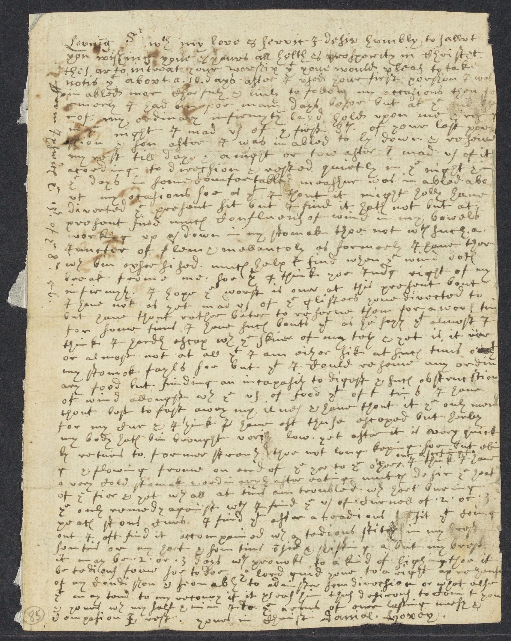 Hovey, Daniel, 1642-1695, autographed letter signed to John Winthrop; Ipswich, Mass., 1 side (2 pages), 1656 August 13