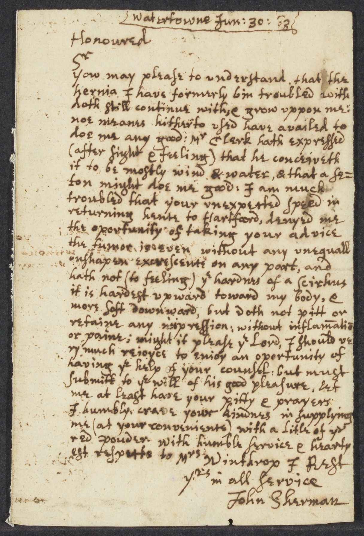 Sherman, John, 1613-1685, autographed letter signed to John Winthrop; Watertown, Mass., 1 side (3 pages), 1663 June 30