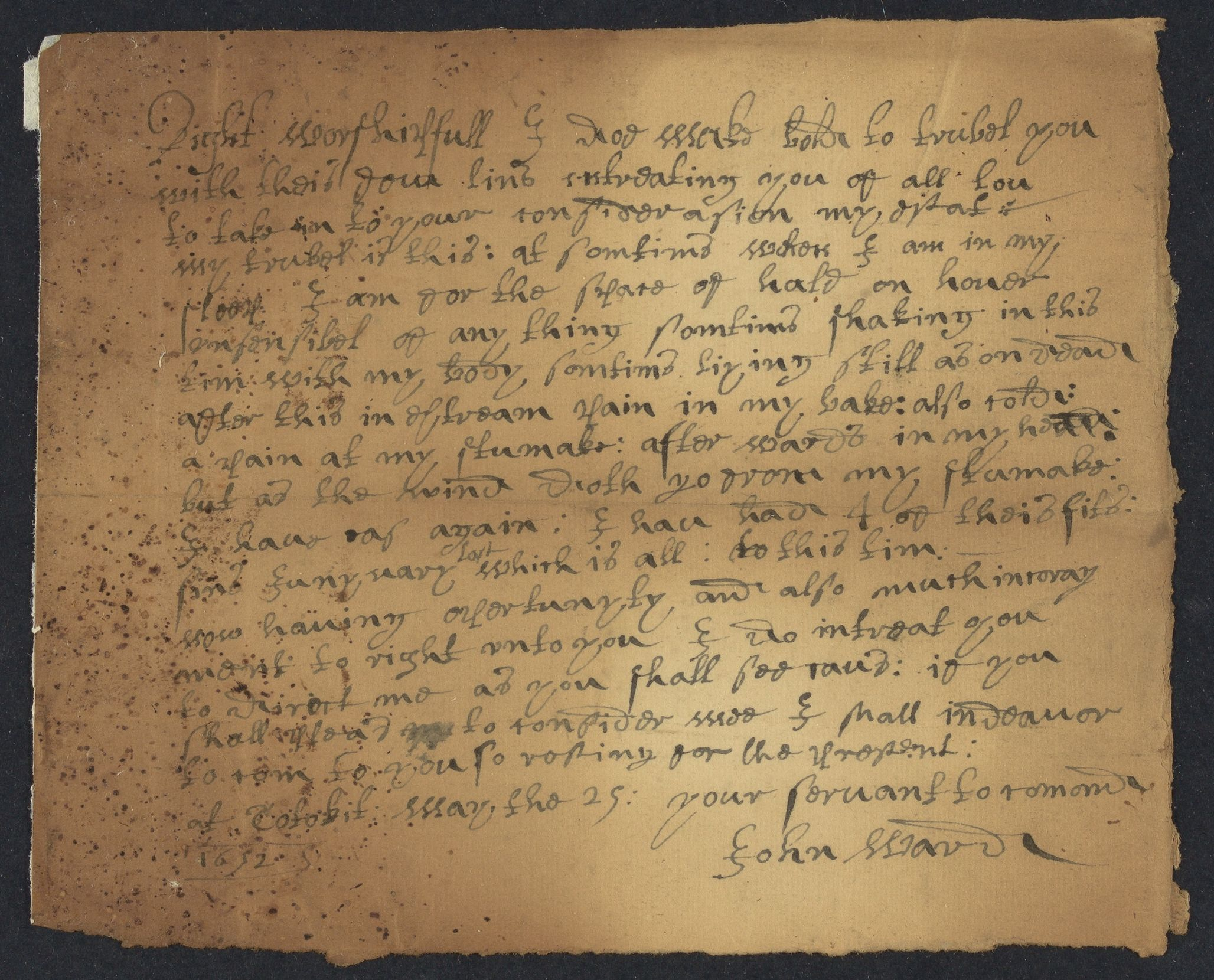 Ward, John, 1606-1693, autographed letter signed to John Winthrop; Cotohit [sic], Mass., 1 side (2 pages), 1652 May 29
