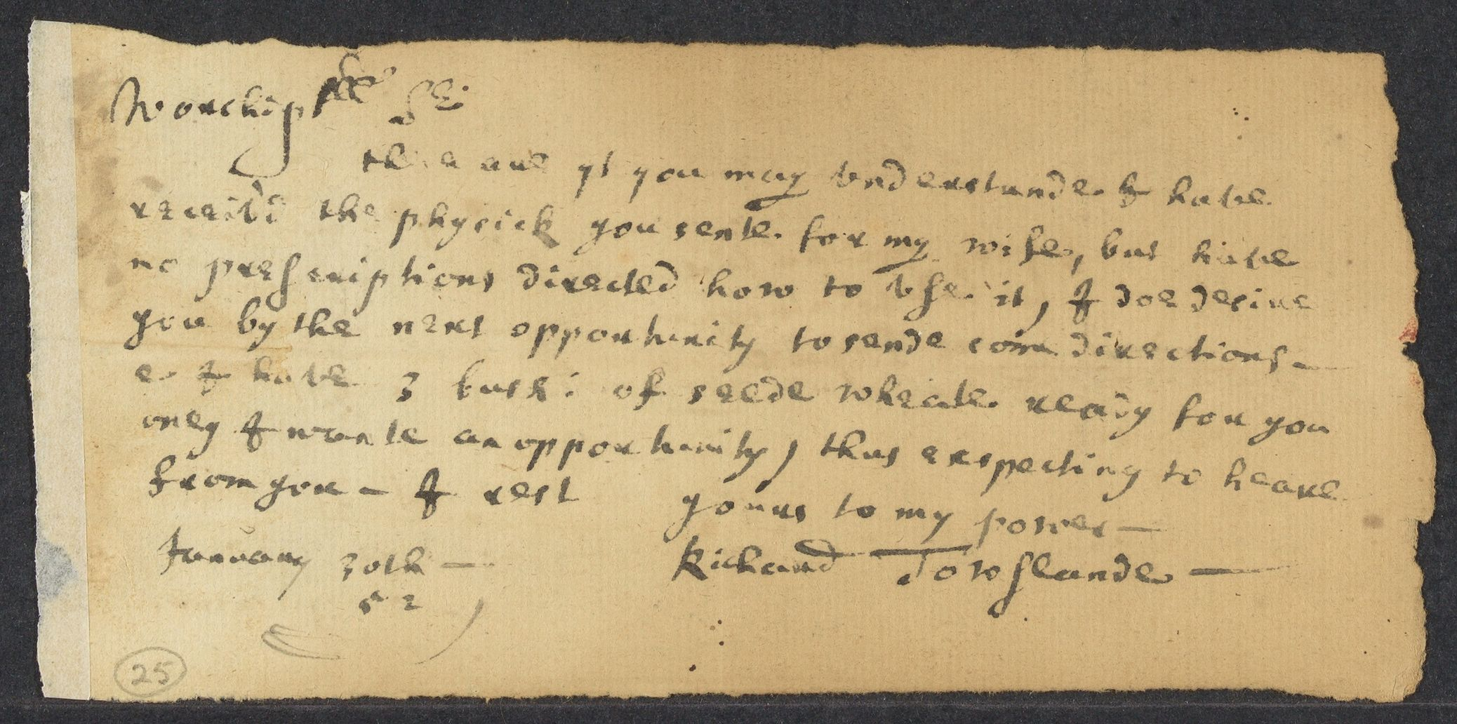 Towslande, Richard, autographed letter signed to John Winthrop, 1 side (2 pages), 1652 January 30