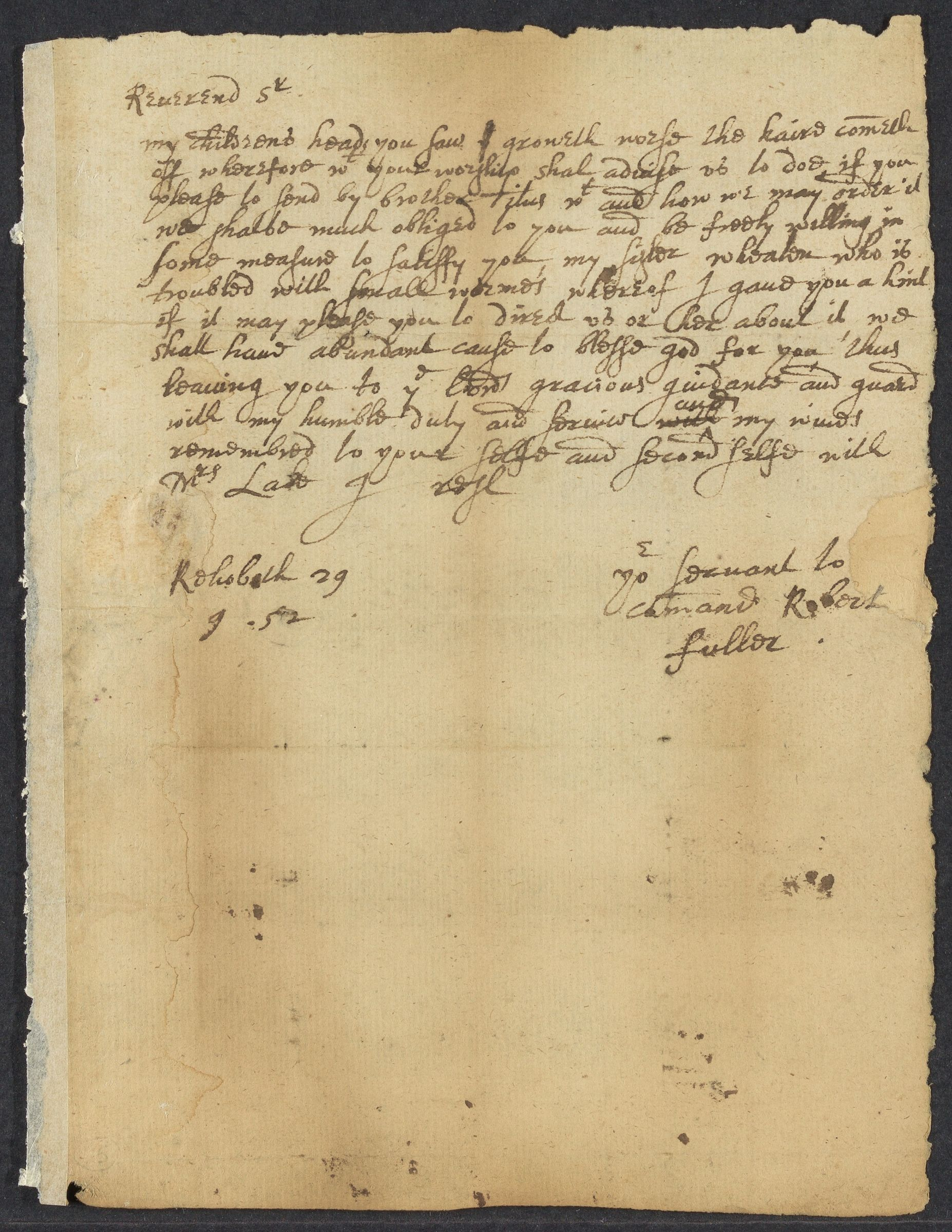 Fuller, Robert, autographed letter signed to John Winthrop; Rehoboth, Mass., 1 side (2 pages), 1652 September 29