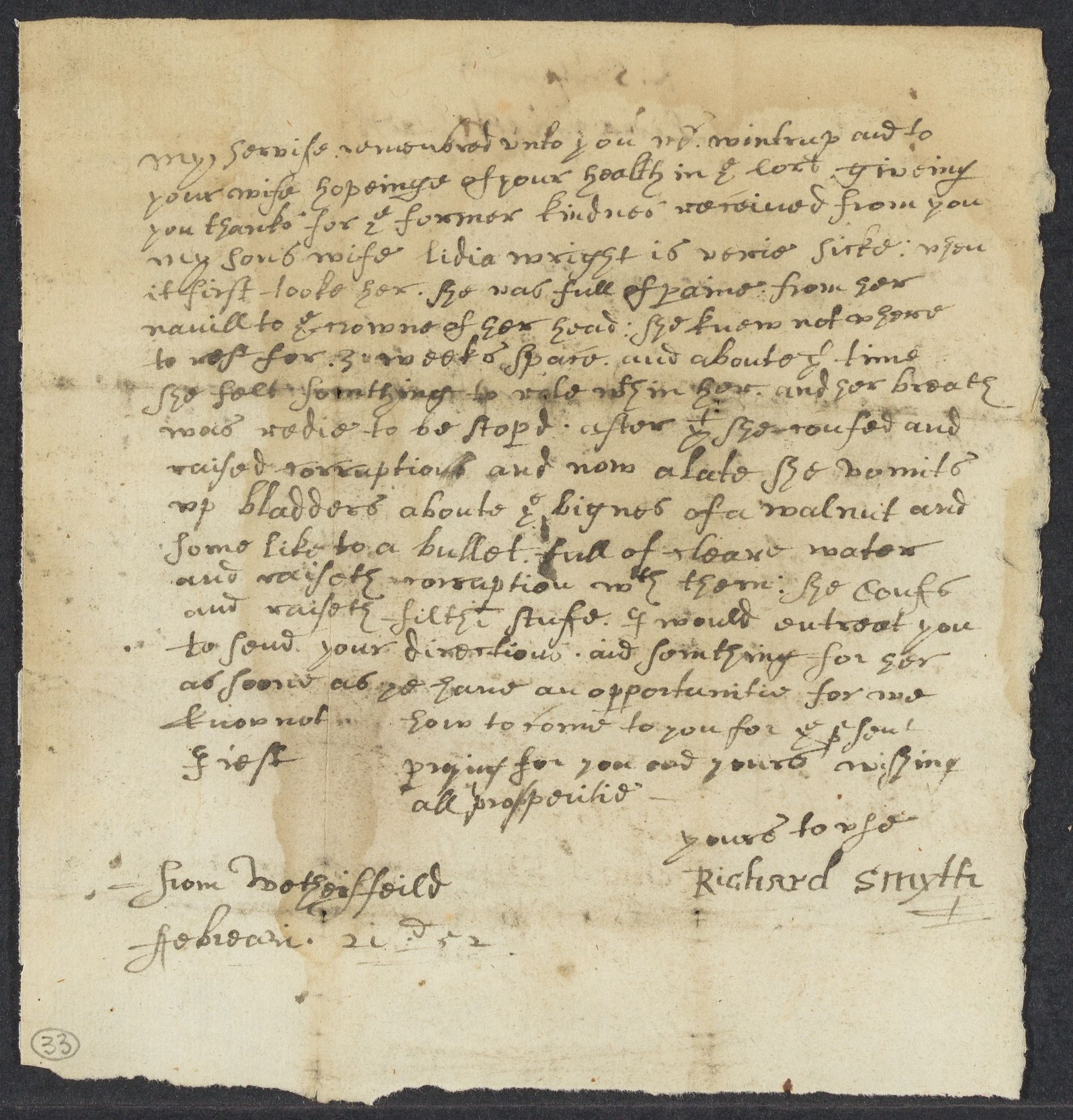 Smyth, Richard, autographed letter signed to John Winthrop; Wethersfeild [sic], Conn., 1 side (2 pages), 1652 February 21