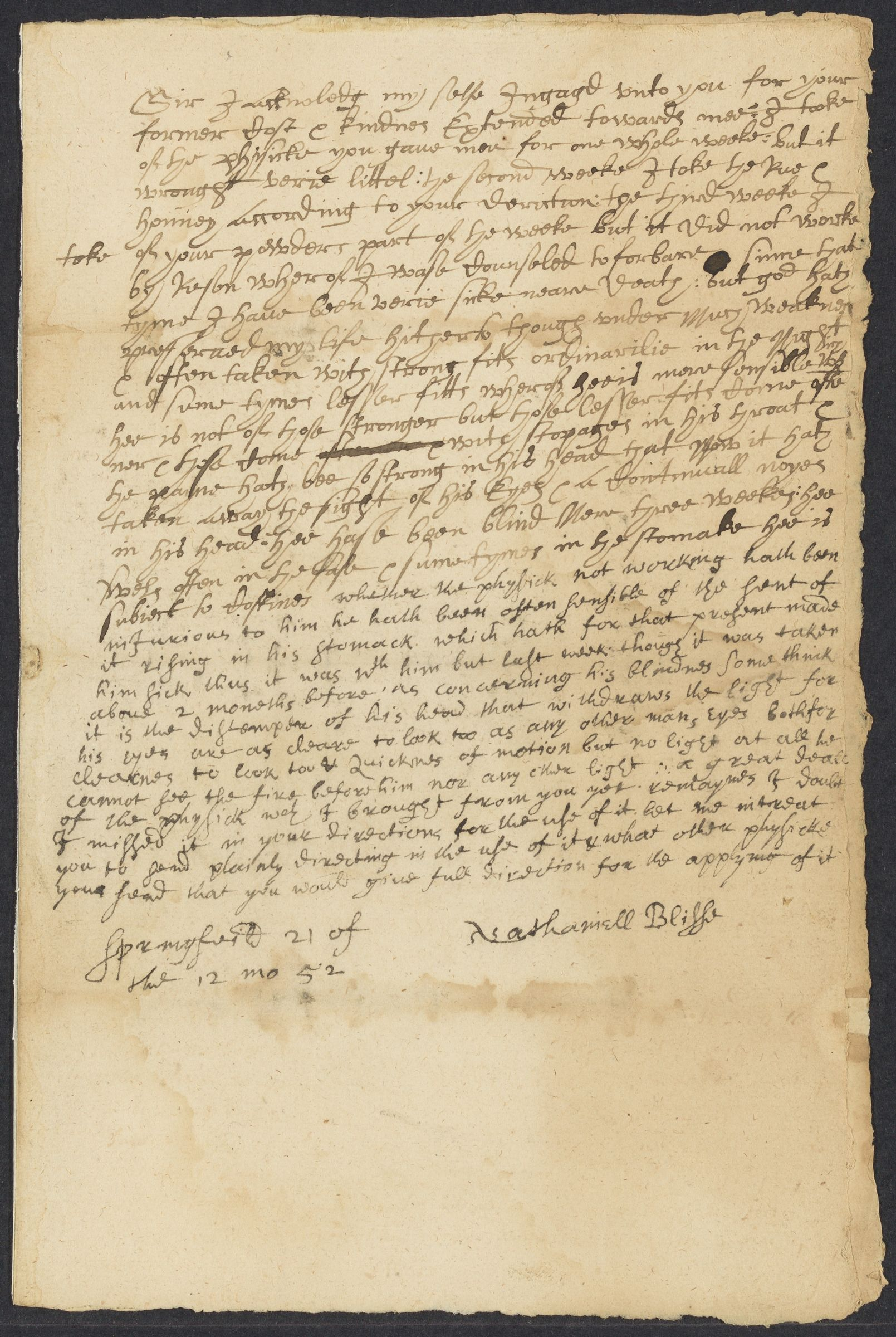 Bliss, Nathaniel, 1622-1654, autographed letter signed to John Winthrop; Springfield, Mass., 1 side (2 pages), 1652 December 21