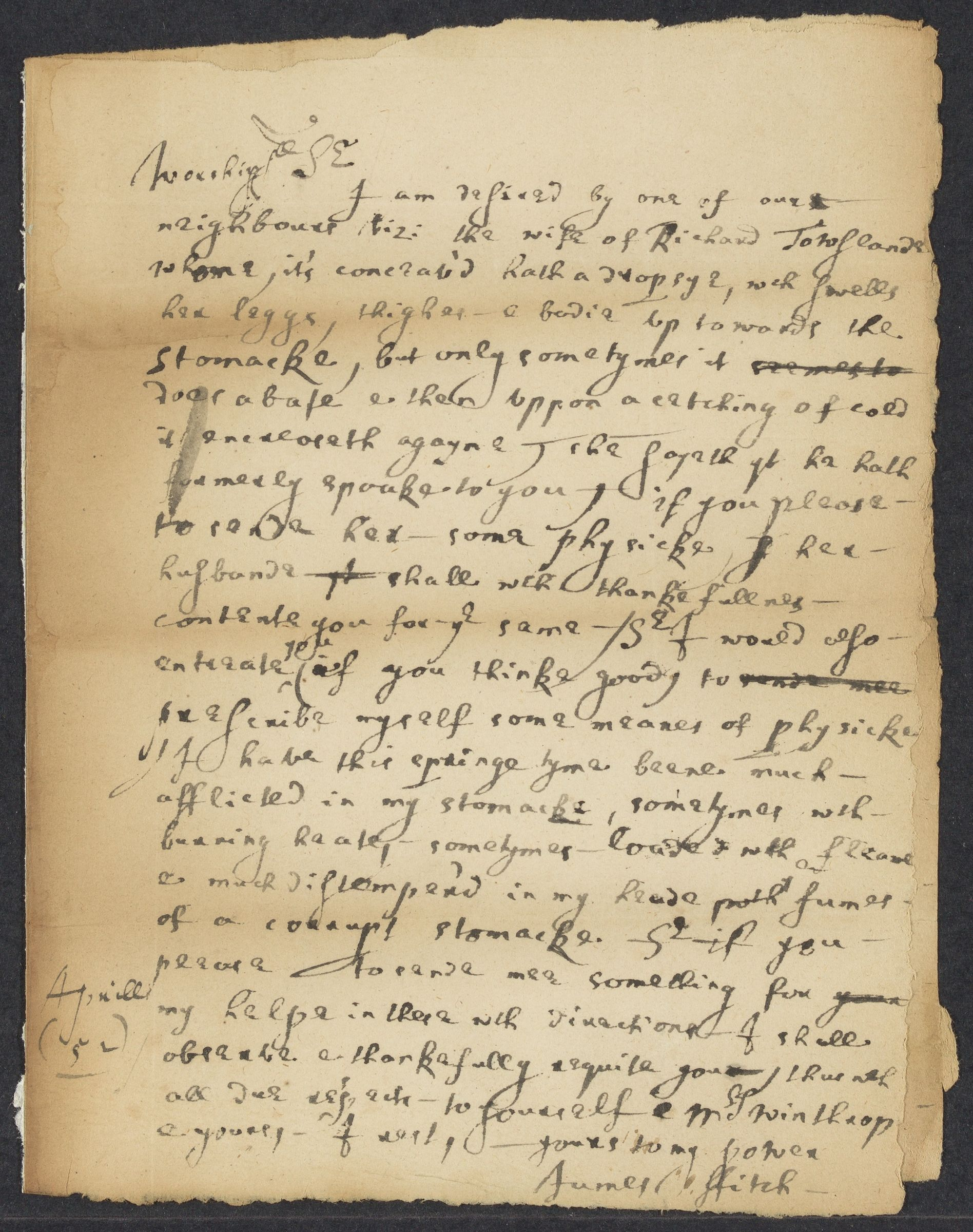 Fitch, James, 1622-1702, autographed letter signed to John Winthrop; Saybrooke [sic], Conn., 1 side (2 pages), 1652 April