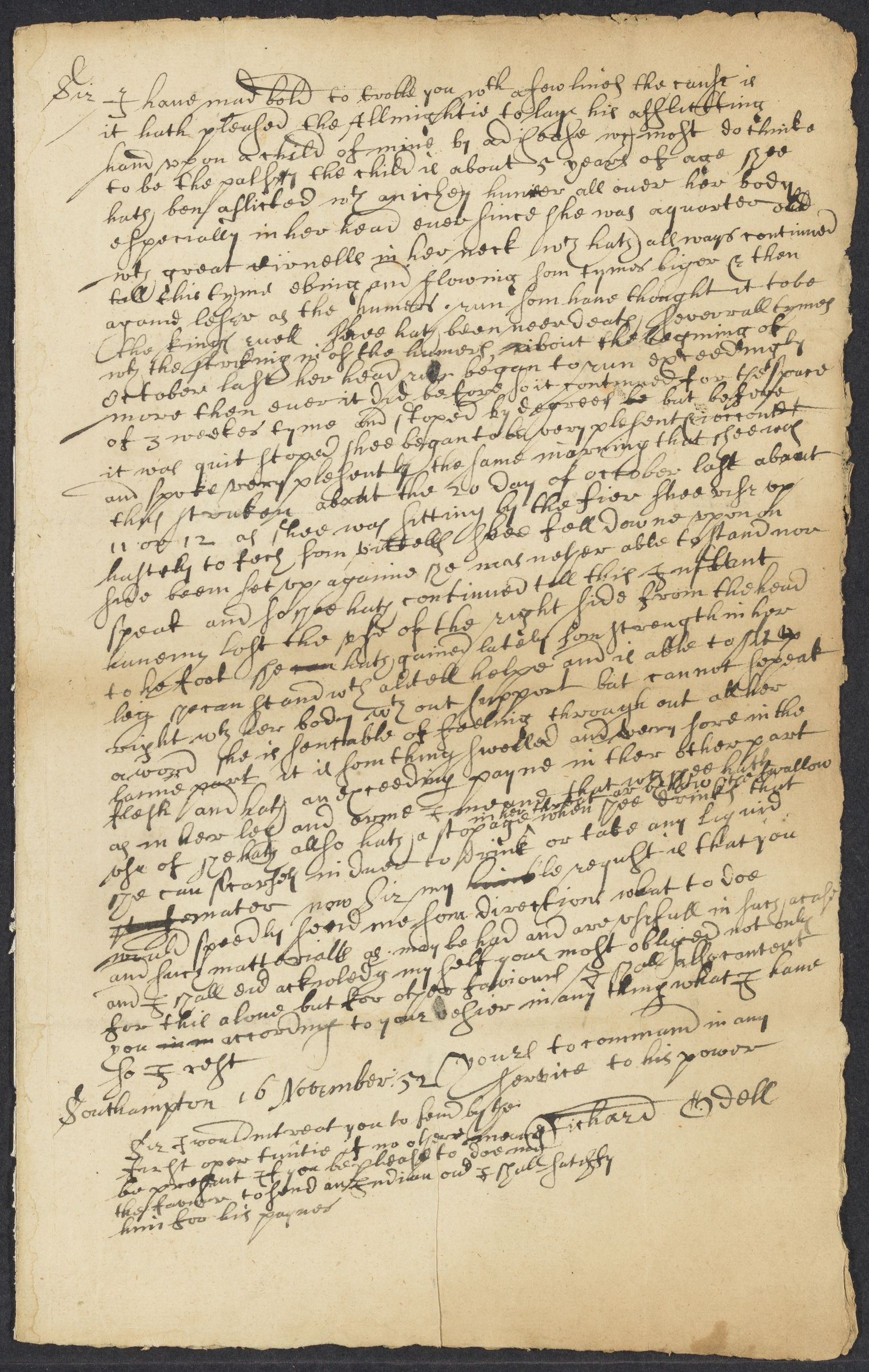Odell, Richard, 2 autographed letters signed to John Winthrop; Southampton, Long Island, 1652 November 16-1653