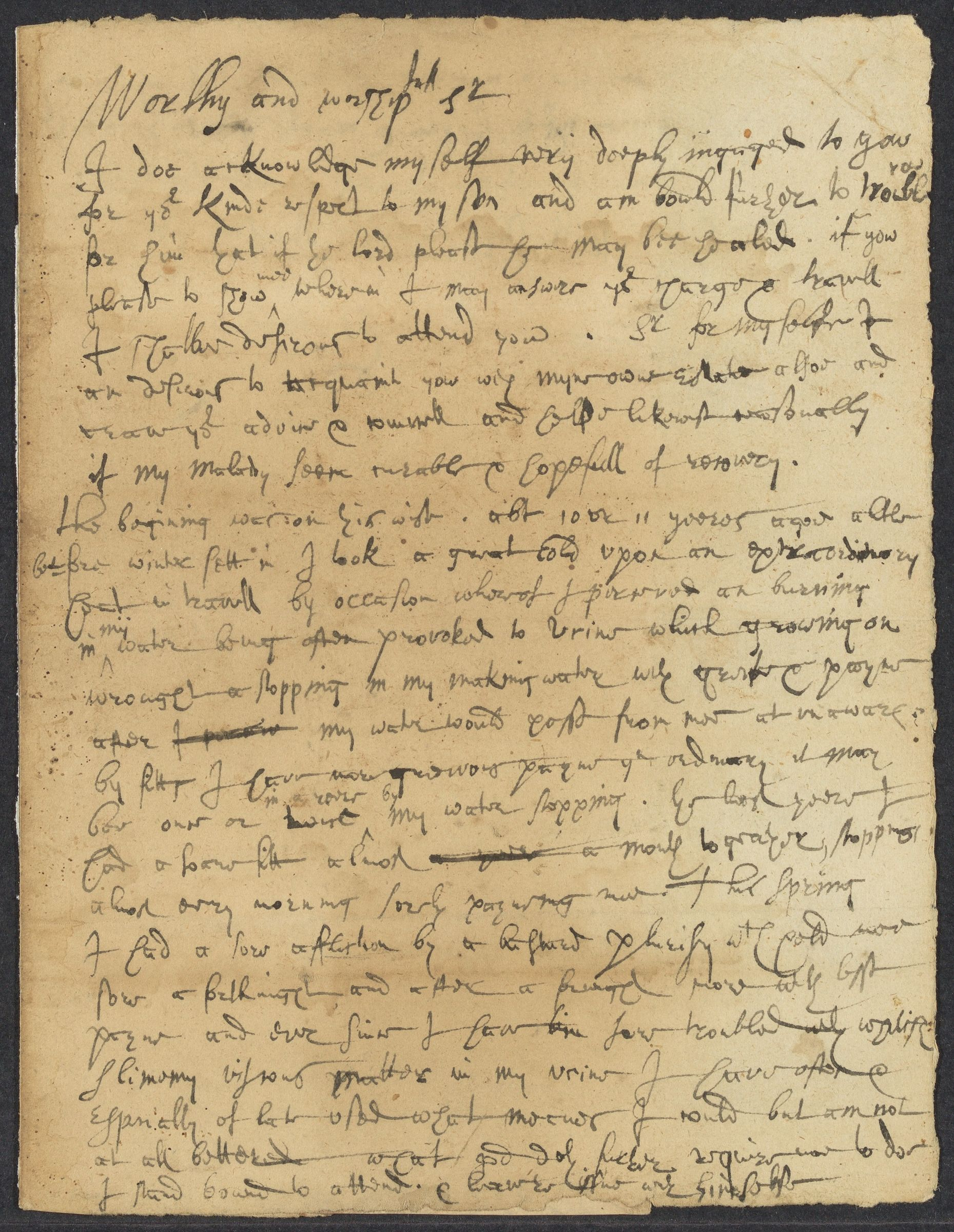 Ward, George, autographed letter signed to John Winthrop; Brainford, 1 side (3 pages), 1652 June 15