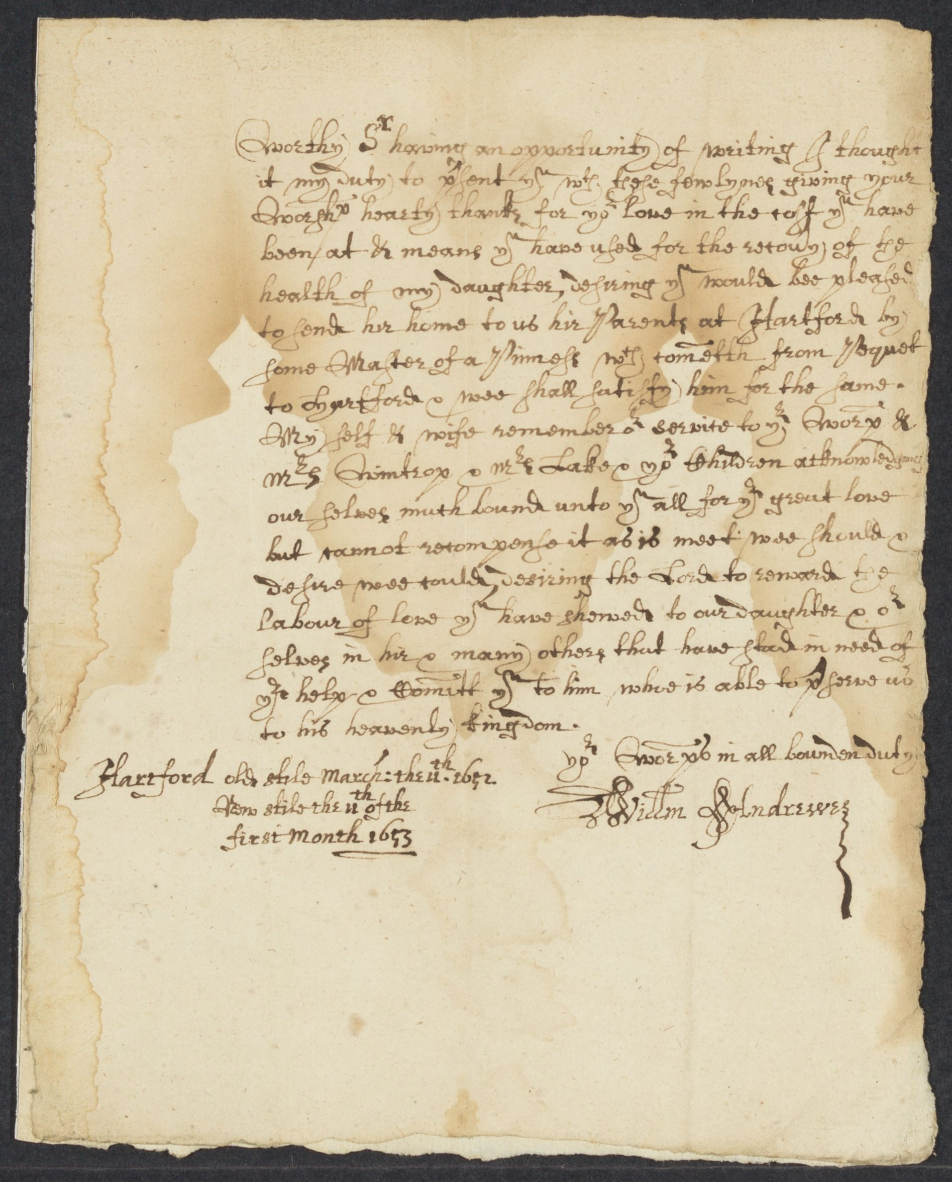 Andrewes, William, 2 autographed letters signed to John Winthrop; Hartford, 1653 January 11-May 9