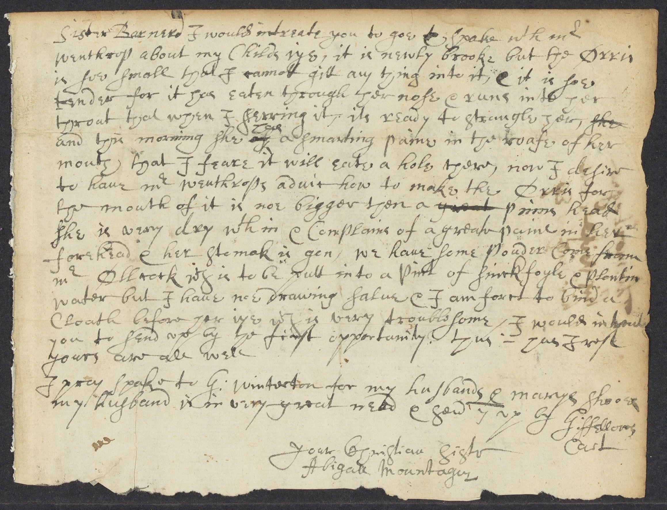 Montague, Abigale, autographed letter signed to [ ] Barnerd, 1 side (2 pages), circa 1663 July