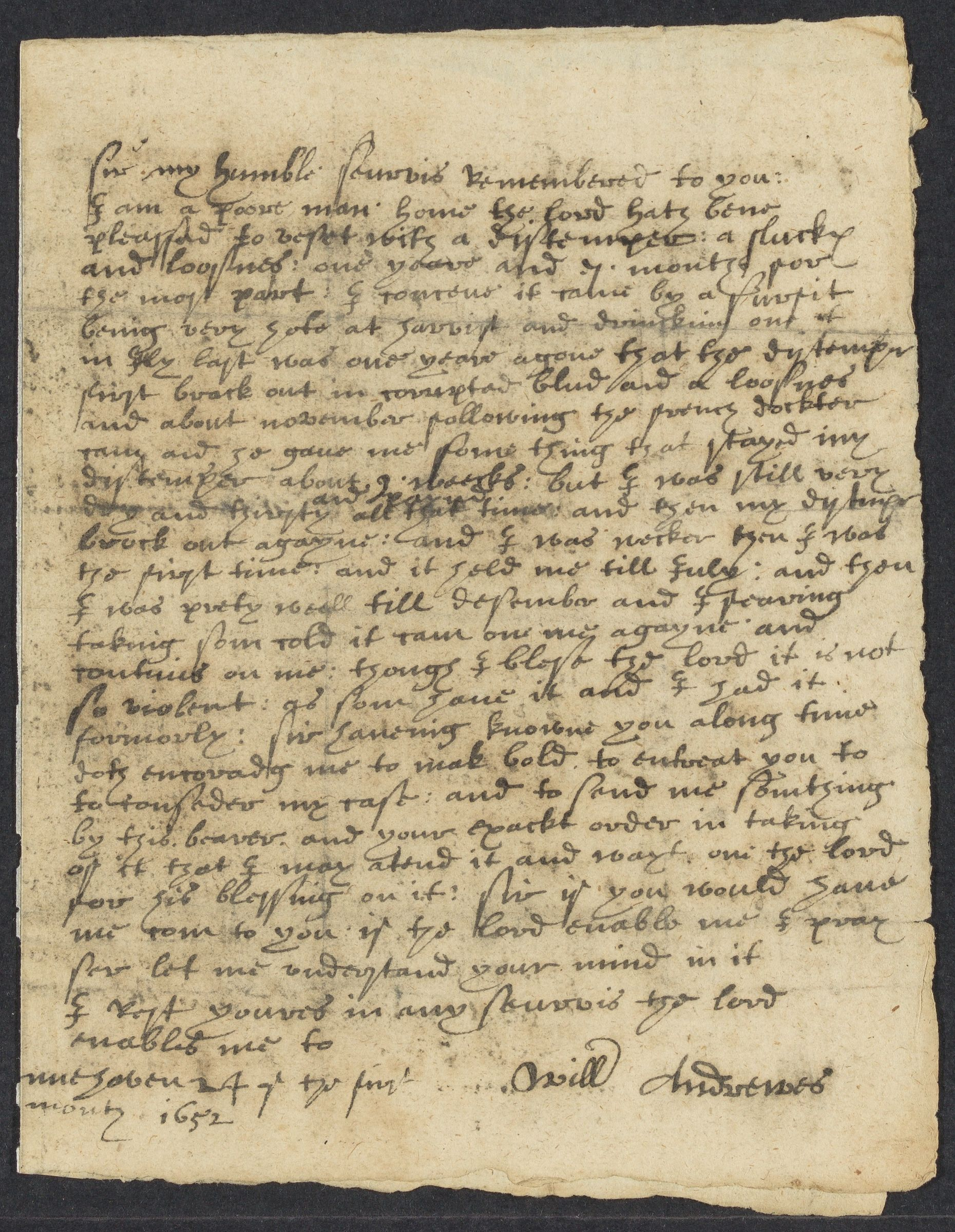 Andrewes, Will, autographed letter signed to John Winthrop; New Haven, 1 side (2 pages), 1652 January 24