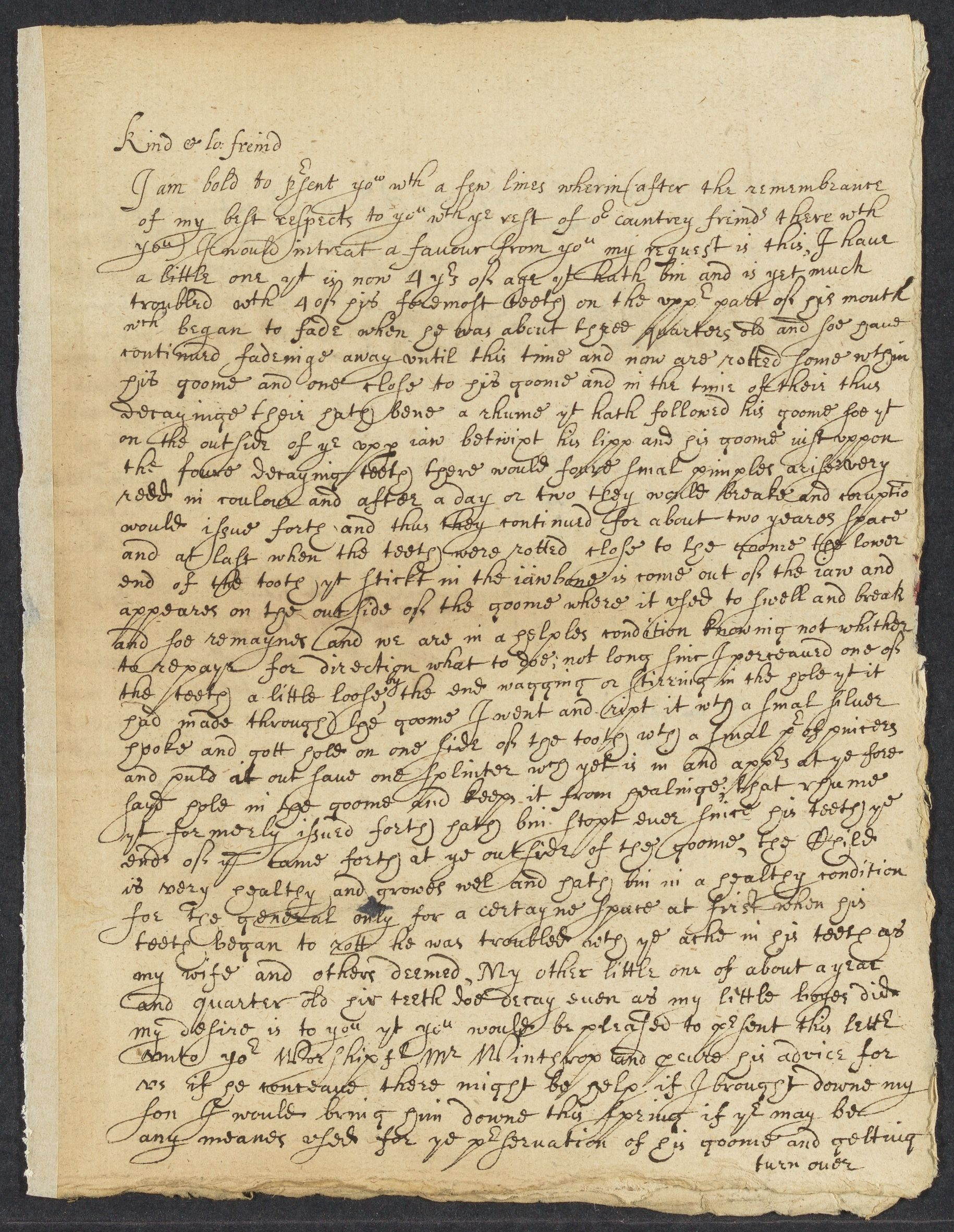 Clarke, Daniell, autographed letter signed to Hugh Caukin; Windsor, Conn., 1 side (3 pages), 1652 February 11