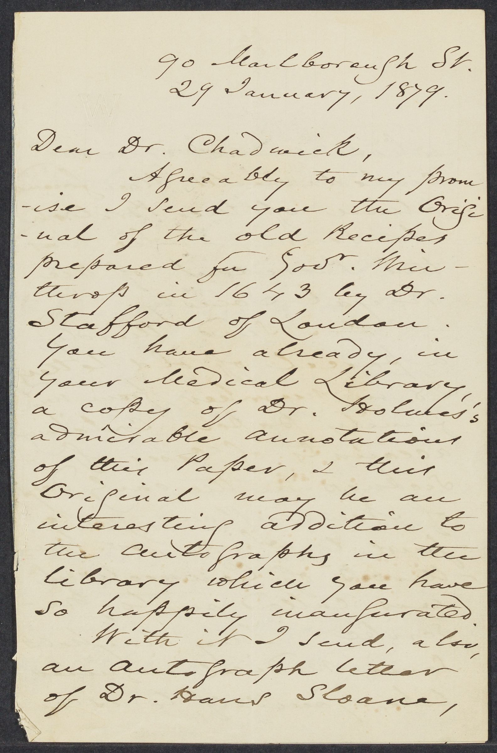 Winthrop, Robert Charles, 1809-1894, autographed letter signed to James Read Chadwick; Boston, 1 side (3 pages), 1879 January 29