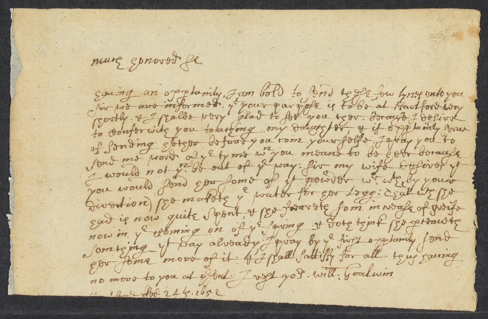 Goodwin, Will, 2 autographed letters signed to John Winthropp [sic]; Hartford, Conn., 1652 February 24-February 26