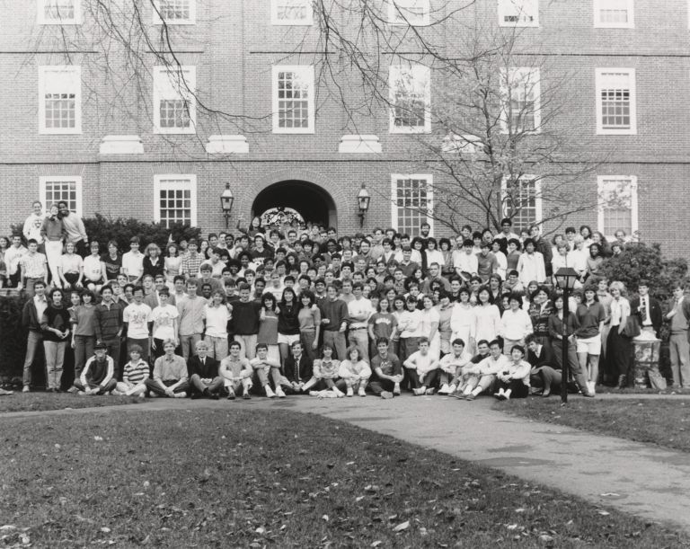 Group portrait of Harvard and Radcliffe students in Radcliffe Quad