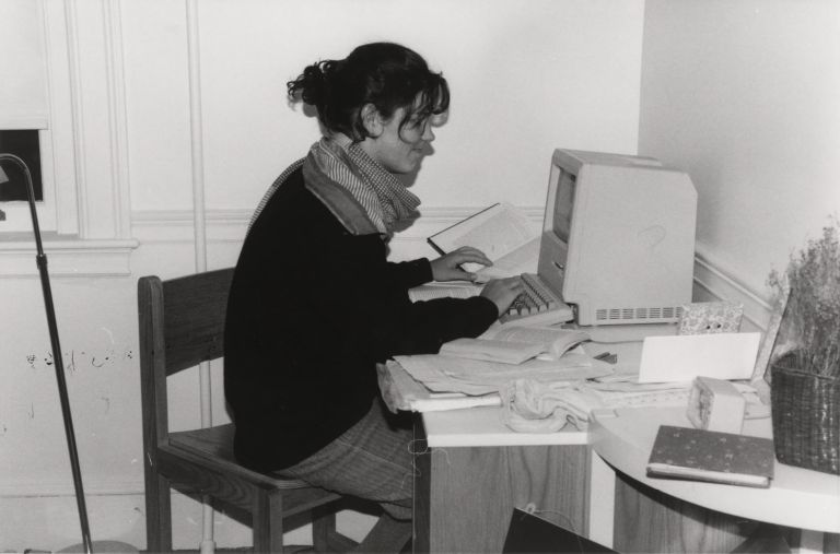 Radcliffe student at a computer