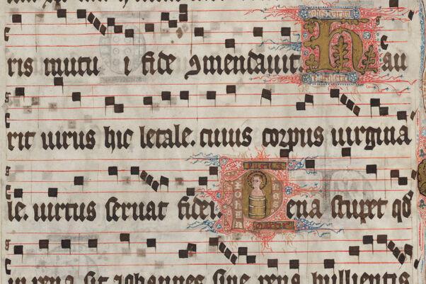 Houghton Library. MS Typ 1095. Gradual (Pre-Vatican II). f. 1r