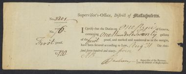 Customs certificates -- Massachusetts, Hancock family papers