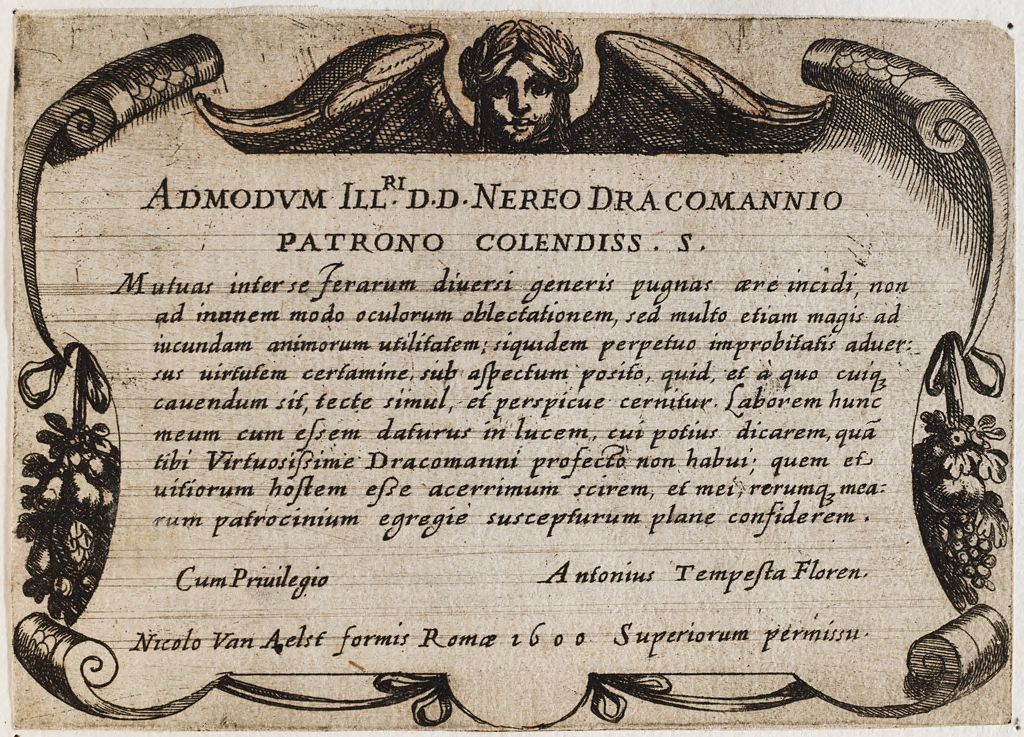 Frontispiece With A Dedication To Nereo Dracomannio