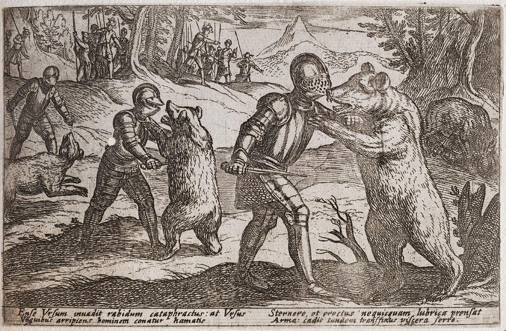 Armored Men Fighting Bears