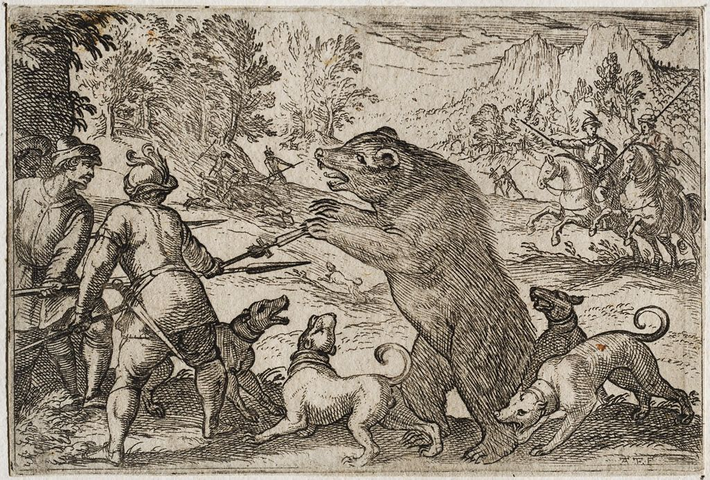Men On Foot And Dogs Fighting A Bear