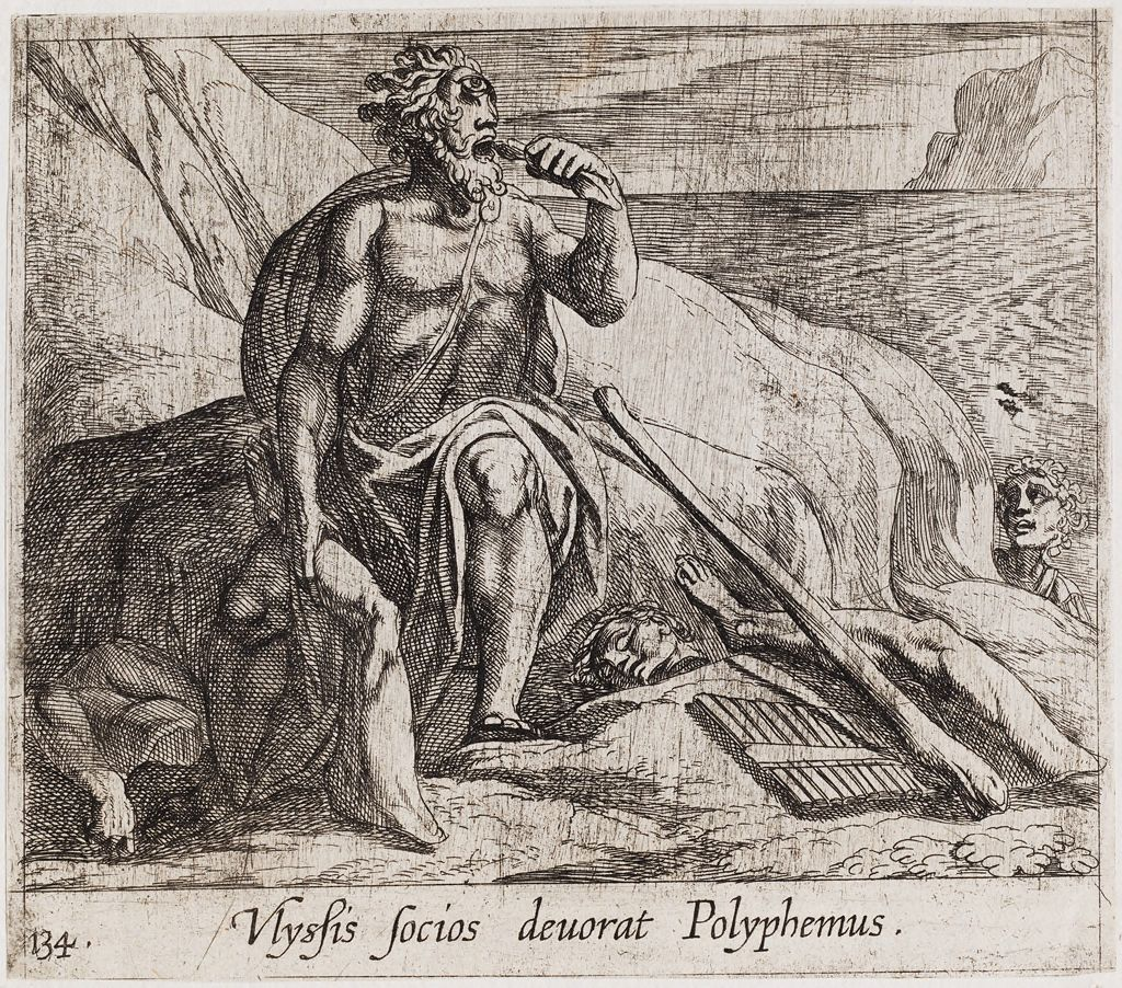 Polyphemus Eating Ulysses' Men, As Achaemides Watches