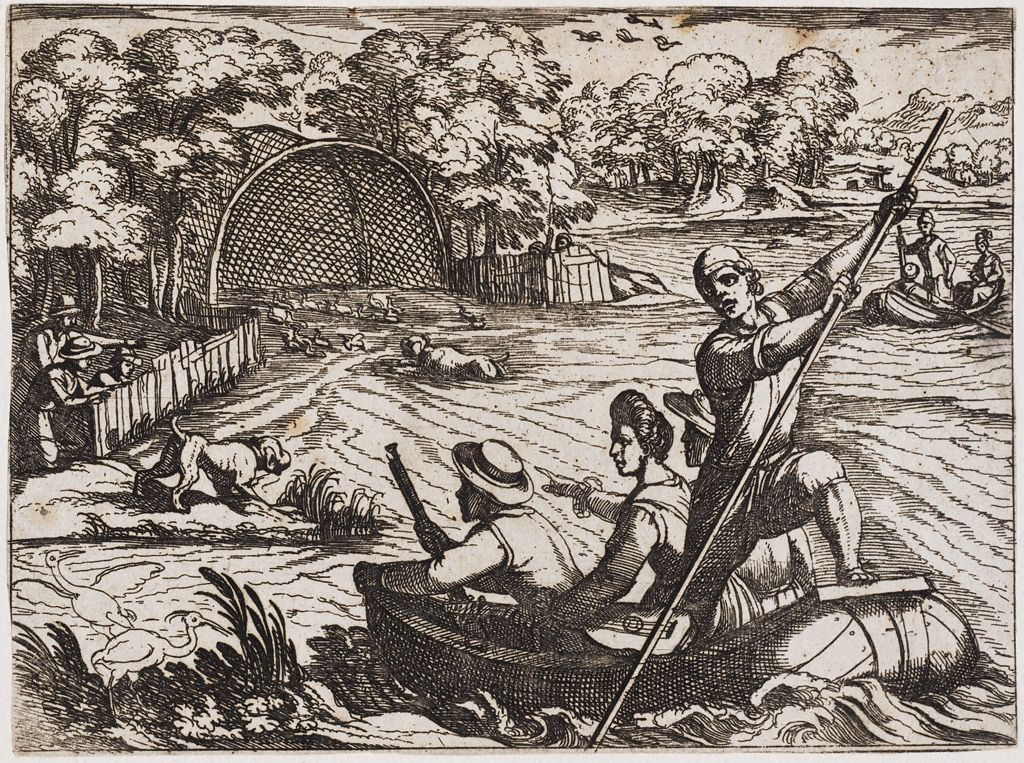 Hunters Chasing Wild Geese Into A Large Net
