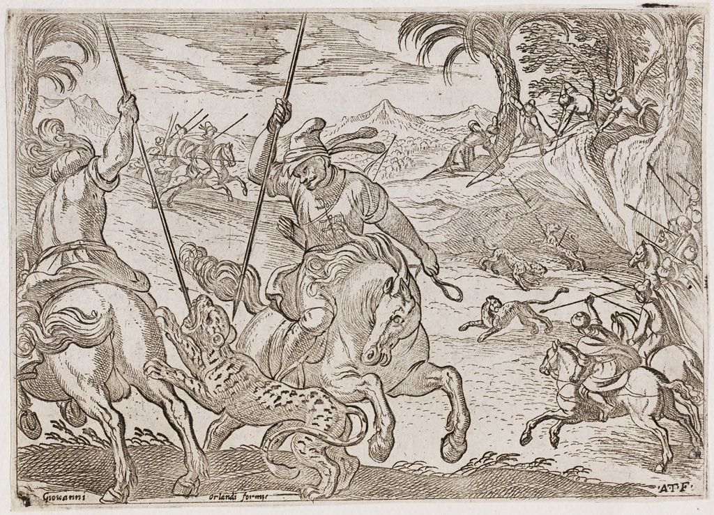 Two Men On Horseback Killing A Leopard