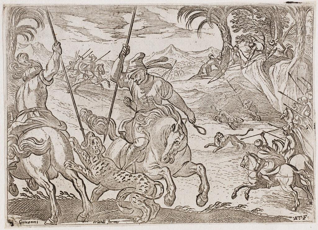 Two Men On Horseback Killing A Leopard