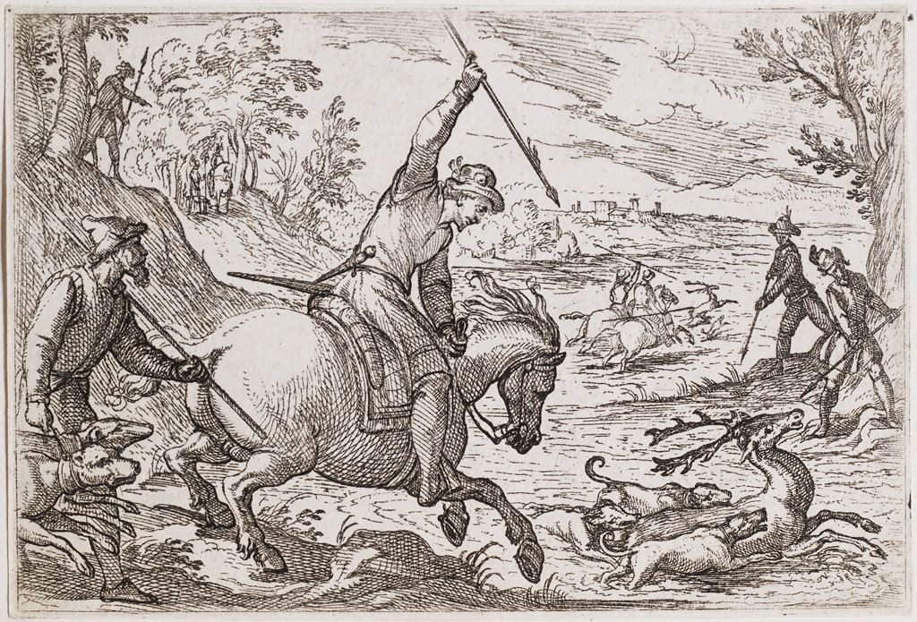 Man On Horseback And Dogs Chasing A Stag