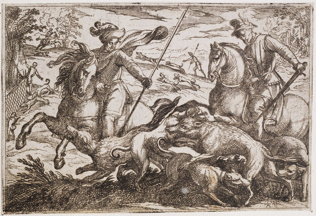 Men On Horseback And Dogs Hunting Wolves