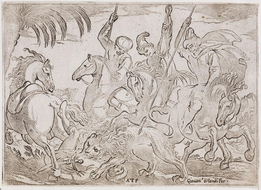 A Lion Hunt With A Lion Killing A Man