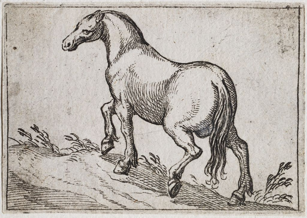 Horse Walking Up A Mound, Facing Left