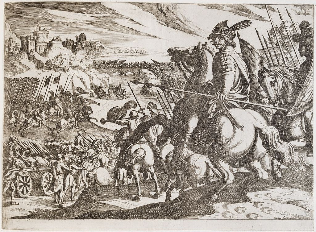 An Army Attacking Across A Bridge, With A Cavalryman In The Foreground