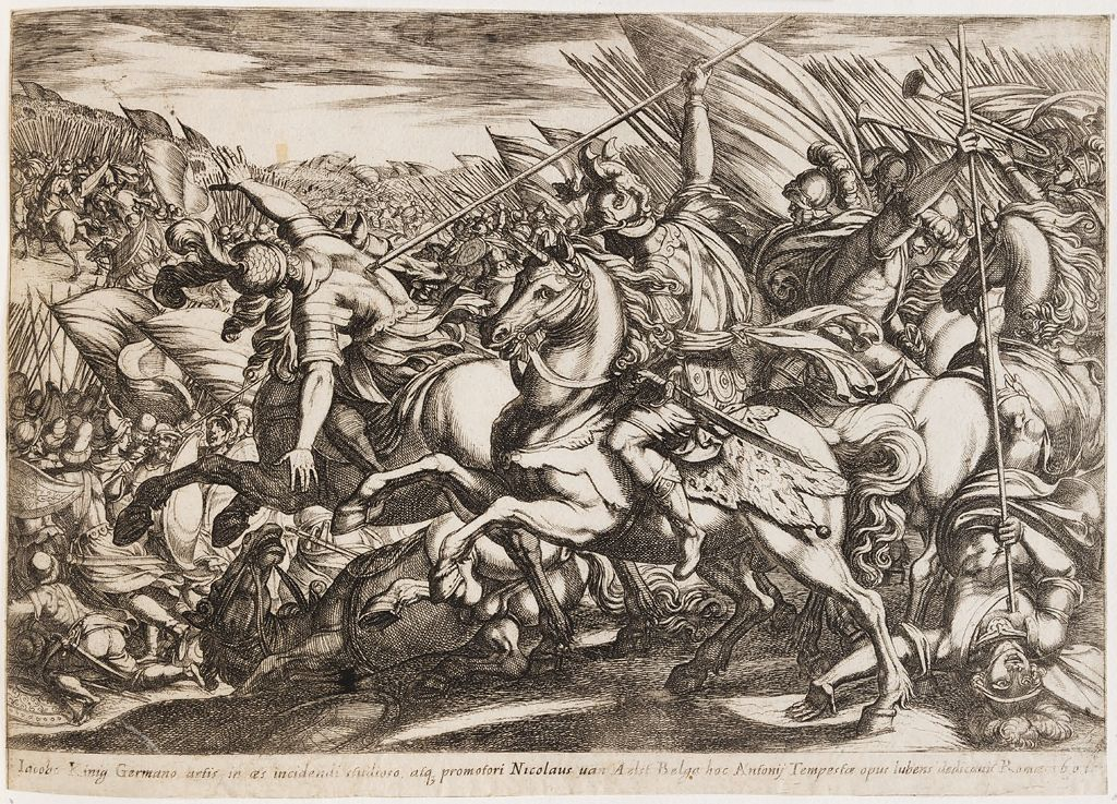 Cavalry Attack, With Two Men Speared