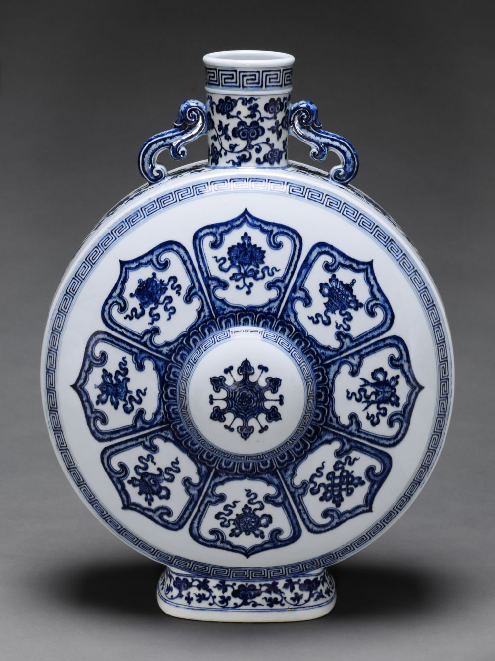 Moon Flask with Decoration of the Eight Buddhist Treasures (Babao) within Stylized Lotus Petals