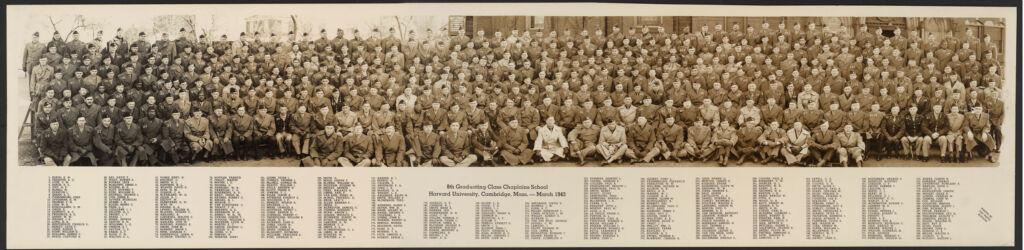 Group portrait of 8th graduating class, Chaplain School, U.S. Army, Harvard University, March, 1943