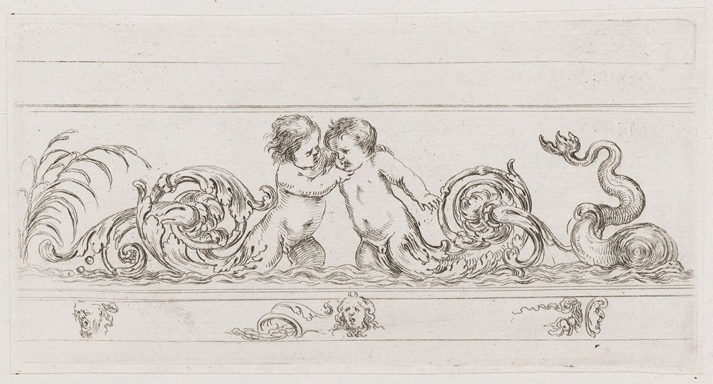 Frieze With Two Putti And A Dolphin