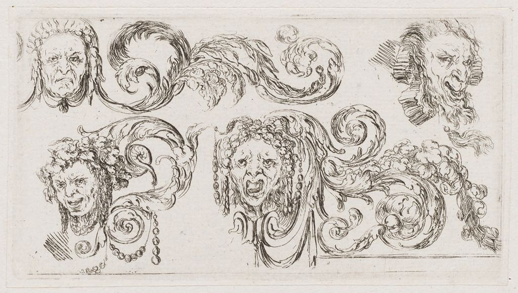 Grotesques, Including The Head Of A Man Wearing A Wig