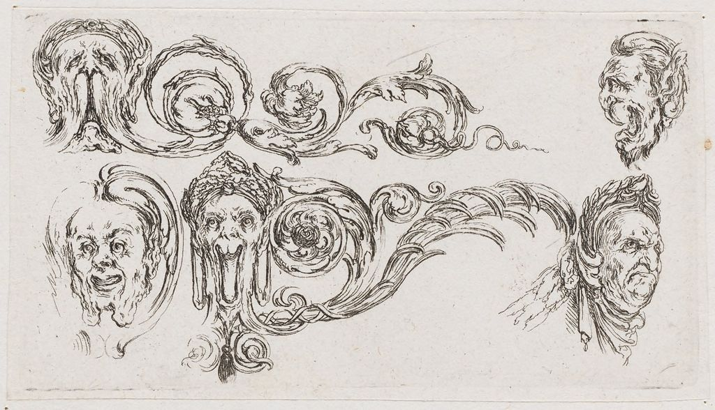 Grotesques, Including The Head Of A Man Wearing A Wreath