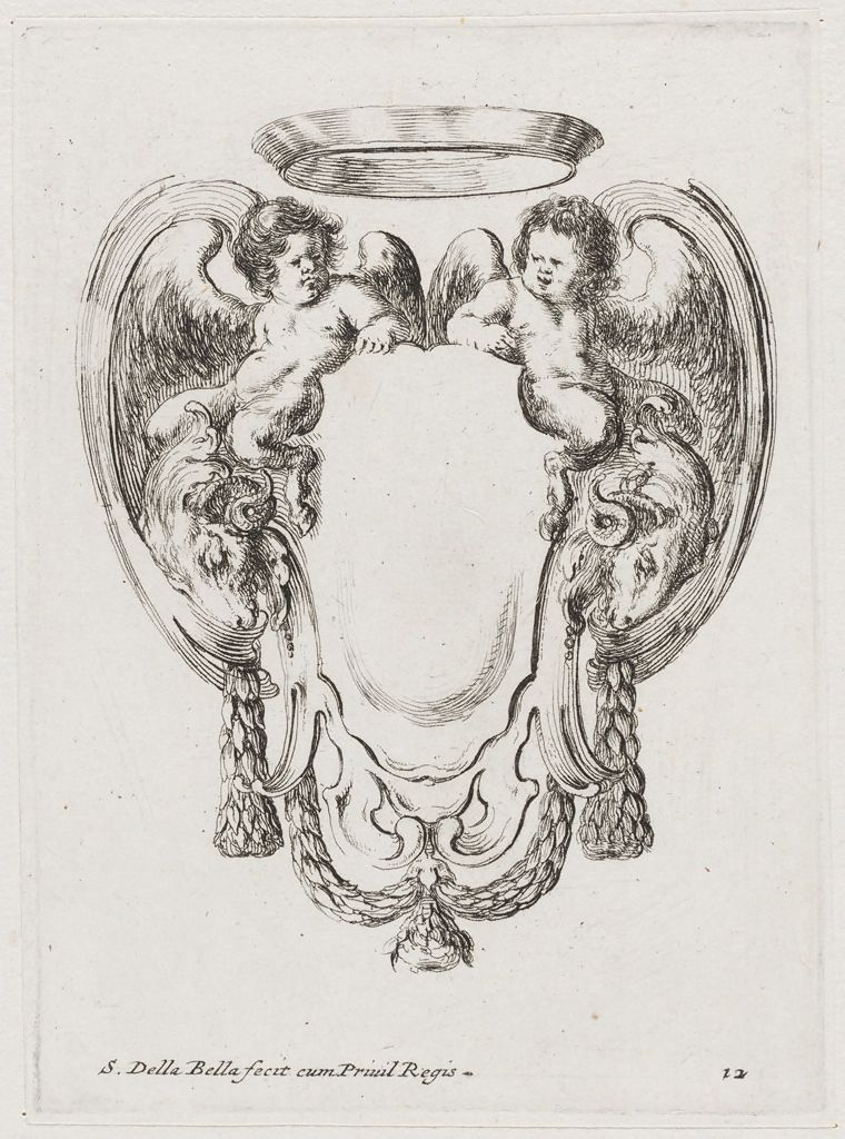 Two Winged Baby Satyrs Astride Rams Supporting A Simple C