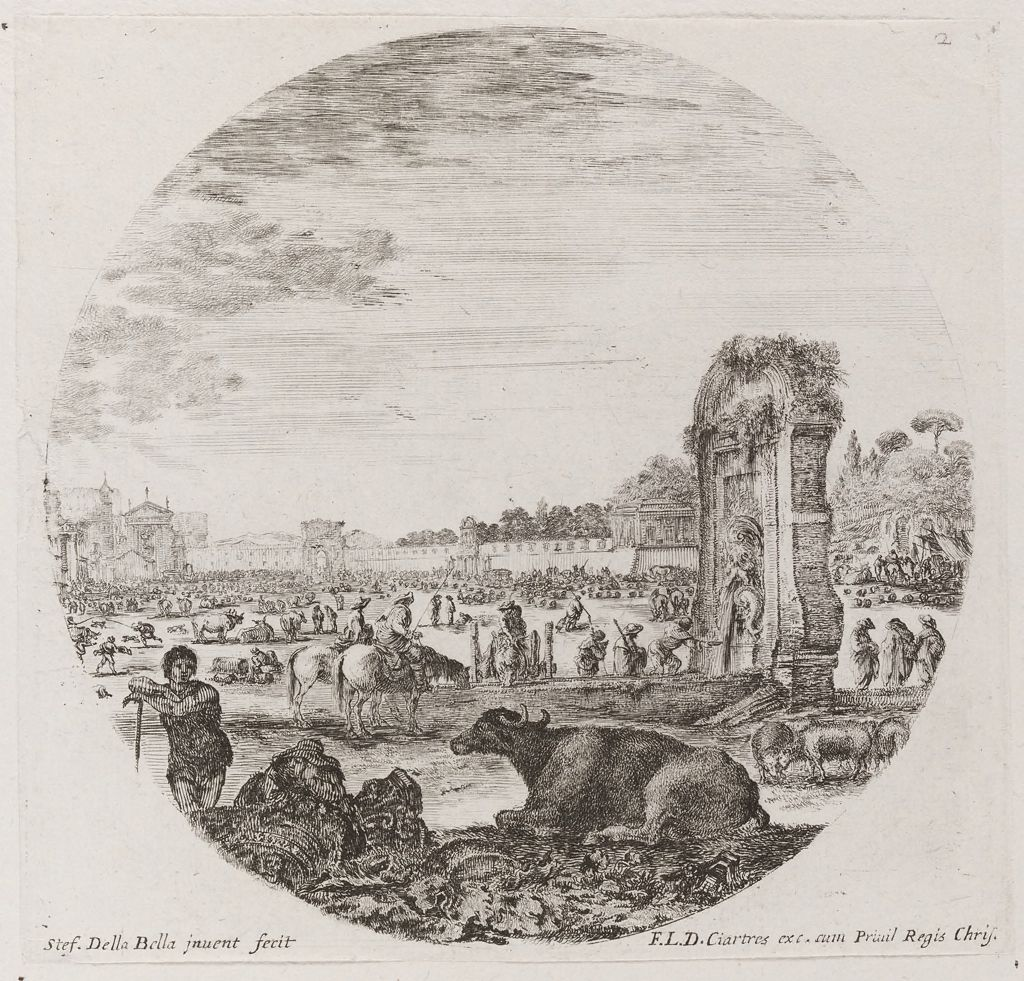 Landscape With Ruins, A Buffalo In The Foreground