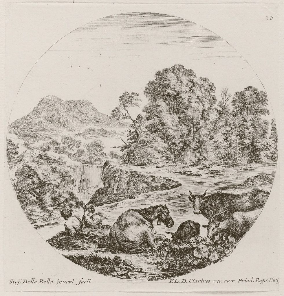 Landscape With A Waterfall, A Herd In The Foreground
