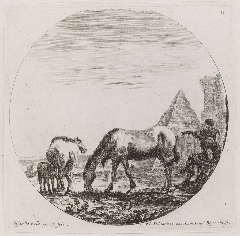 Landscape With Horses And The Pyramid Of Cestius