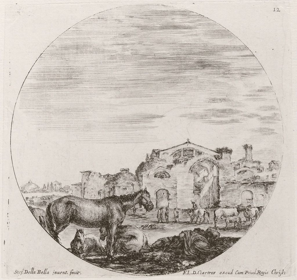 Landscape With Horses And Ruins Of Roman Baths