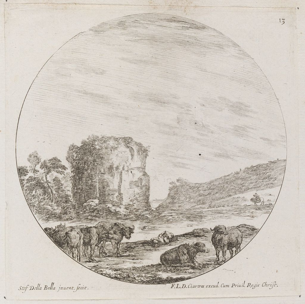 Landscape With A Ruin, Buffalo In The Foreground