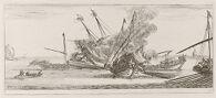 A Naval Battle, a Ship Ablaze at Center