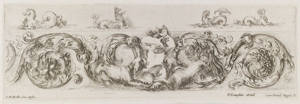Two Dogs Playing With A Putto, Sea Monsters Above