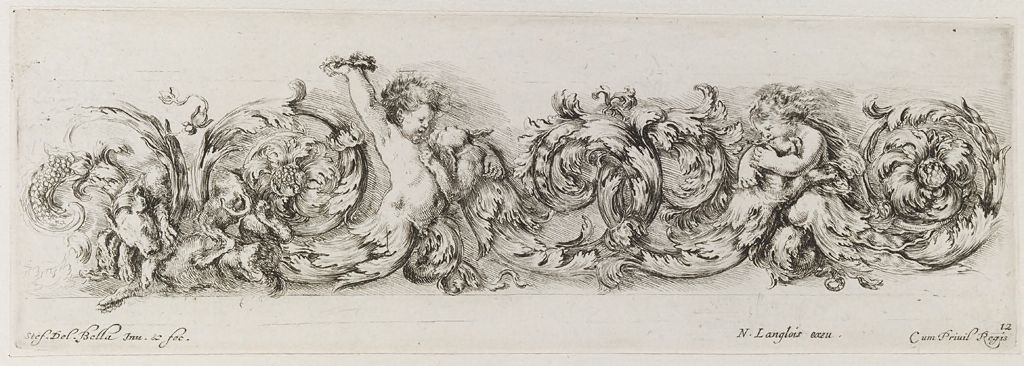 Two Putti Playing With Dogs