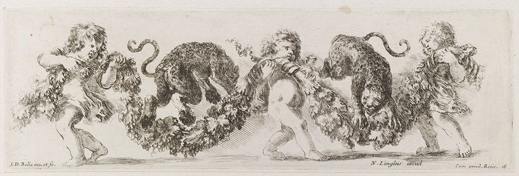Three Putti Playing With Two Leopards