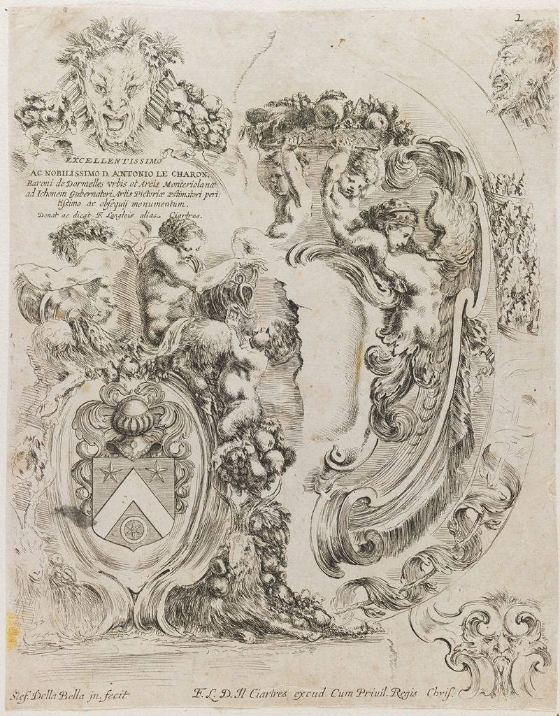 Dedication Page To Antonio Le Charon, With Coat Of Arms